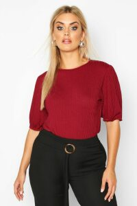 Womens Plus Jumbo Rib Puff Shoulder Top - Red - 20, Red