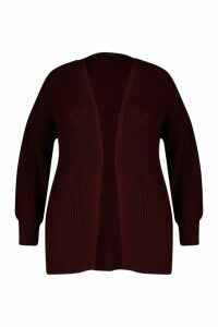 Womens Plus Bell Sleeve Knitted Cardigan - red - 20/22, Red