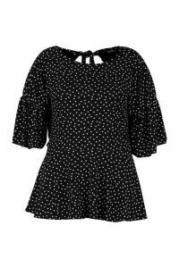 Womens Plus Polka Dot Ruffle Sleeve Peplum Top - black - 24, Black