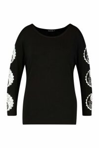 Womens Plus Sun and Moon Ying Yang Longsleeve T-Shirt - black - 20, Black