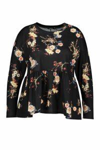 Womens Plus Dark Floral Long Sleeve Smock Top - black - 20, Black