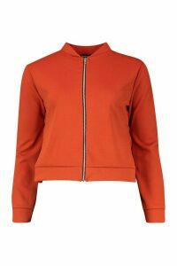 Womens Zip Through Bomber Jacket - orange - 14, Orange
