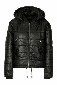 Womens Hooded Cire Puffer Jacket - Black - Xl, Black