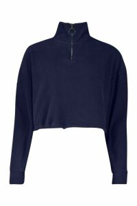 Womens Zip Through High Neck Oversized Hoodie - navy - M, Navy