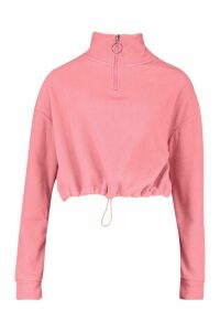 Womens Zip Through High Neck Oversized Hoodie - Pink - M, Pink