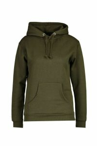 Womens Kangaroo Pocket Hoodie - green - M, Green