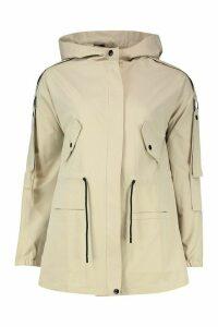 Womens Utility Synch Waist Hooded Jacket - beige - 10, Beige