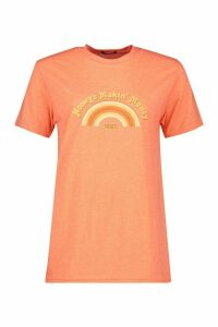 Womens Honeys Makin' Money Slogan T-shirt - orange - L, Orange
