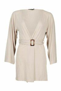 Womens Mock Horn Wide Sleeve Kimono - beige - S, Beige