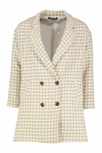 Womens Dogtooth Double Breasted Wool Look Coat - beige - 8, Beige