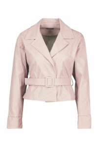 Womens Covered Buckle Belted Faux Leather Jacket - pink - 12, Pink