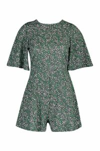 Womens Mixed Floral Flare Sleeve Playsuit - green - 16, Green