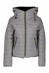 Womens Fitted Quilted Jacket - Grey - 12, Grey