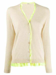 Miu Miu Pre-Owned contrast ruffle cardigan - NEUTRALS