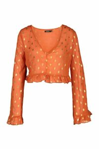 Womens Metallic Spot Flared Sleeve Blouse - orange - 16, Orange