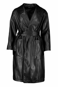 Womens Belted Faux Leather Jacket - black - 12, Black