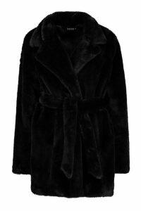 Womens Belted Faux Fur Coat - black - 12, Black