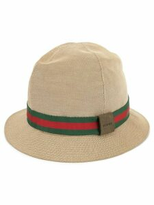 Gucci Pre-Owned web stripe hat - Brown