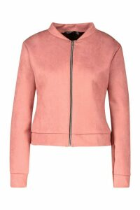 Womens Suedette Bomber Jacket - pink - 12, Pink
