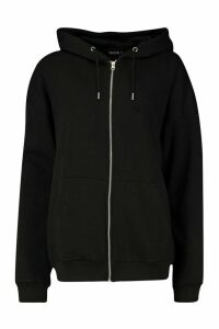 Womens Oversized Zip Through Hoodie - black - M, Black
