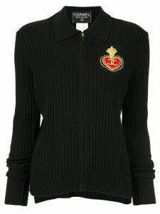 Chanel Pre-Owned 1996 emblem zip-up polo shirt - Black