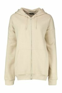 Womens Oversized Zip Through Hoodie - cream - M, Cream