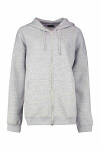 Womens Oversized Zip Through Hoodie - grey - M, Grey