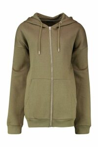 Womens Oversized Zip Through Hoodie - green - M, Green