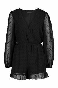 Womens Wrap Dobby Mesh Blouson Sleeve Playsuit - black - 8, Black