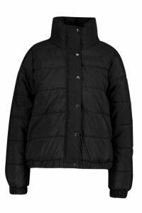 Womens Funnel Neck Puffer Jacket - Black - 14, Black