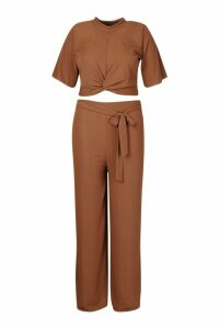 Womens Plus Slinky Rib Knot Front Top + Trouser Co-Ord - brown - 24, Brown