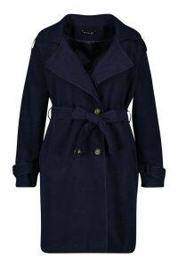Womens Plus Military Detail Wool Look Trench Coat - navy - 24, Navy