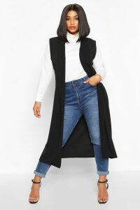 Womens Plus Tailored Sleeveless Duster - black - 22, Black