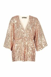 Womens Petite Sequin Wrap Flippy Playsuit - pink - 12, Pink