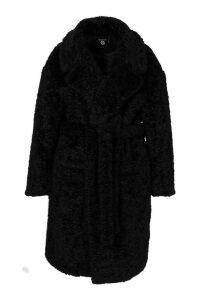 Womens Plus Teddy Faux Fur Belted Mid Length Coat - black - 24, Black