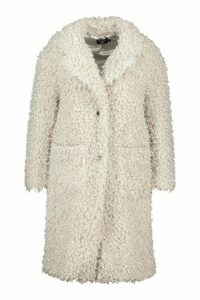 Womens Plus Teddy Faux Fur Longline Coat - white - 20, White
