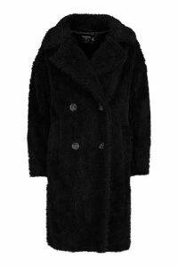 Womens Petite Longline Double Breasted Faux Teddy Coat - black - 10, Black