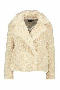 Womens Petite Luxe Faux Fur Short Jacket - white - 4, White