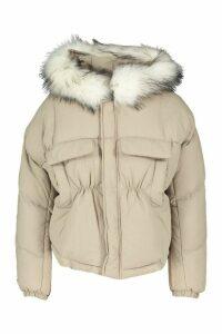 Womens Petite Faux Fur Hooded Side Pocket Padded Jacket - White - 12, White