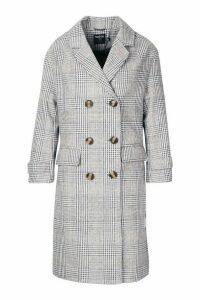 Womens Petite Prince of Wales Check Wool Look Coat - grey - 14, Grey