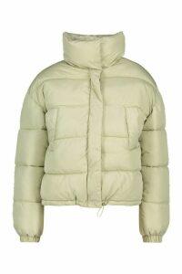 Womens Petite Pocket Detail Padded Jacket - Green - 14, Green