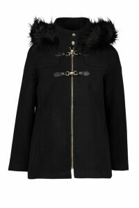 Womens Petite Faux Fur Trim Wool Look Duffle Coat - black - 10, Black