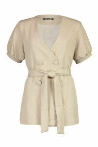 Womens Volume Sleeve Belted Blazer - beige - 14, Beige