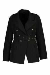 Womens Plus Premium Button Detail Belted Blazer - Black - 22, Black