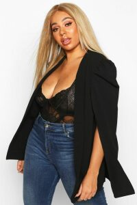 Womens Plus Cape Sleeve Blazer - Black - 20, Black
