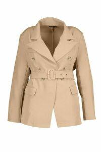 Womens Plus Premium Button Detail Belted Blazer - Beige - 20, Beige