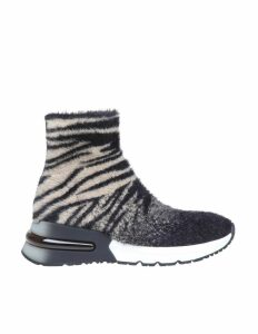 Ash Sneakers King In Fabric Sock With Tiger Black / Cream Motif