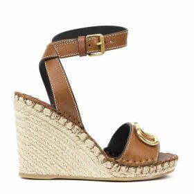 Valentino Garavani Brown Leather Sandals With Logo