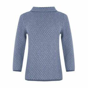 Blue Bardot Collar Contrast Jumper