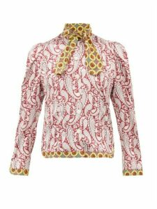 Edeltrud Hofmann - Mary Paisley Print Silk Blouse - Womens - Burgundy Multi
